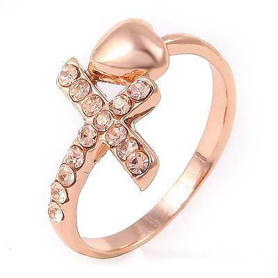 18k Rose Gold Filled Womens Citrine Ring P740-17 Size7,Jewelry Gift