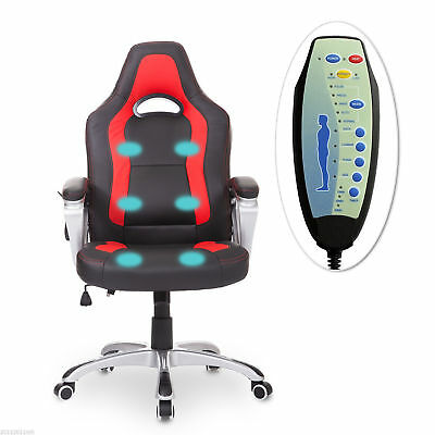 HomCom Race Car Style PU Leather Heated Massage Office Chair Black and Red