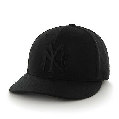 New York Yankees 47 Brand Black Pro Wool MLB Fitted Baseball Hat NEW Black 7 5/8