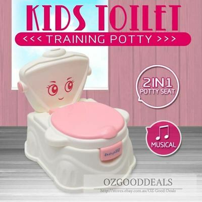 Kids Baby Toddler Toilet Music Training Potty Seat Trainer Chair 2 in1 Pink 1