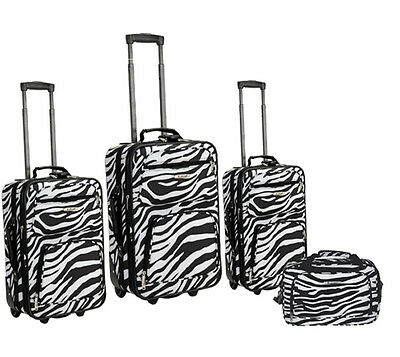 Rockland Fashion Expandable 4-Piece Luggage Set - Zebra