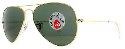 Ray Ban Aviators Gold Frame w/Polarized Green Lens RB3025 001/58 62MM Authentic
