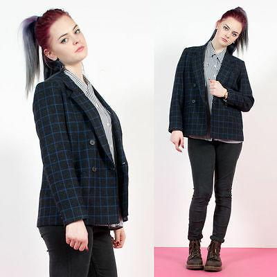 Womens Vintage Black And Blue Grid Check Plaid Double Breasted Blazer Jacket 10