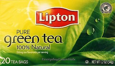 2 Boxes - Lipton PURE Green Tea 100% Natural = Total of 40 Bags