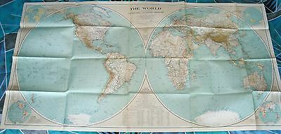 Vintage 1935 National Geographic Map---The World