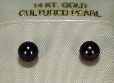 RADIANT! GENUINE NATURAL AKOYA PEARL EARRINGS~14 KT YELLOW GOLD~5.5MM