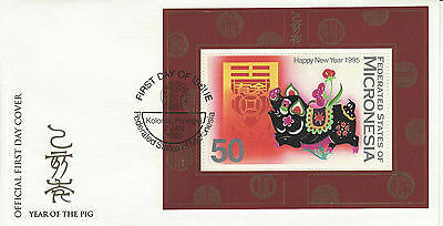 YEAR OF THE PIG FDC -- MICRONESIA, UA CHINESE NEW YEAR