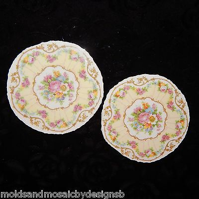 Mosaic tiles~2 Gorgeous Limoges Rose Focals~Hand Cut from Fine China~4 inches