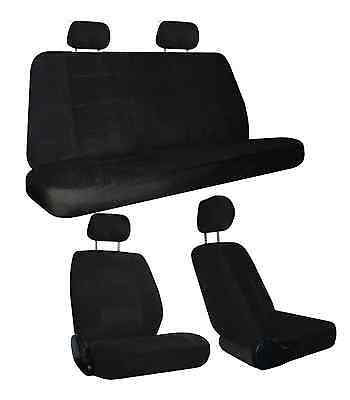 Black Quilted Velour Encore Car Truck Seat Covers Head Rest Covers sc-1122-bk-1