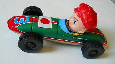 "JAPAN? TIN TOY RACE CAR #3 6 1/4 "" LONG PLAYED WITH BUT VERY GOOD CONDITION!"