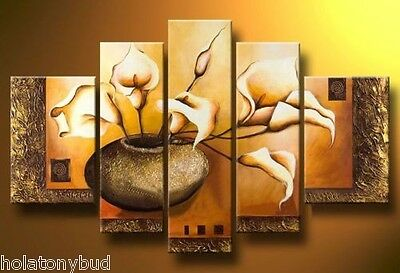 """5pc Modern abstract art OIL Paintng on Canvas NO FRAME """"FLOWERS"""" PM0126"""