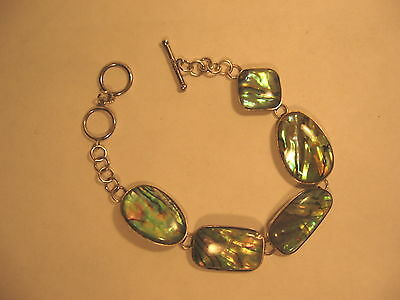 Bracelet Paua Abalone Shell Toggle Clasp 925 Sterling Silver  Adjustable 7 - 8""