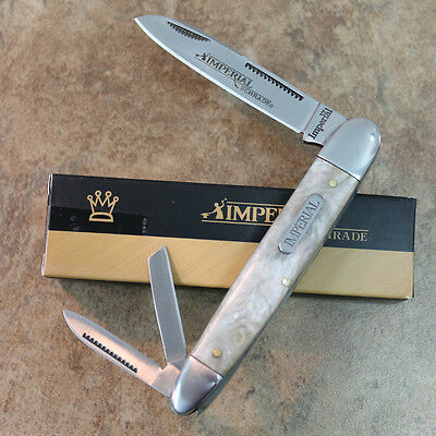 """Imperial Schrade Cracked Ice Pearl 4"""" Cigar Whittler Pocket Knife NEW IMP9 zix"""