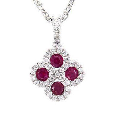 """.53ct Genuine Red Ruby & Natural Diamond Infinity Flower Pendant Necklace 18"""""""