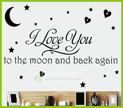 I Love you Moon Star Removable Vinyl Art Wall Sticker Decal Poster Mural Decor