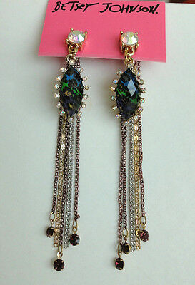 Betsey Johnson Asian Jungle Green Leopard Multi Chain Fringe Earrings NWT