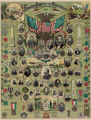 Union Grand Army Republic Leaders Supporters 1888 GAR Medals Poster Print 1656