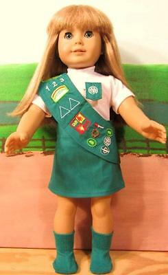 """JUNIOR GIRL SCOUT UNIFORM Set Fits American Girl Doll Clothes 18"""" Includes Socks"""