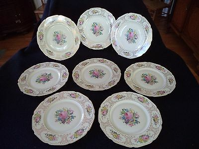 Germany 8 porcelain china dinner plates Ivory Body Supreme roses gold Heinrich