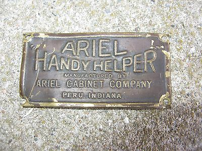 Vintage  ARIEL HANDY HELPER PERU, INDIANA Cabinet Brass  ID Makers Tag