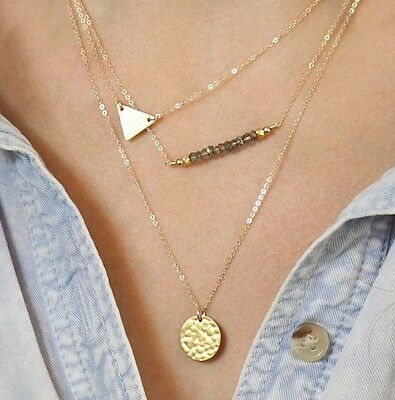 Hot New Design Sexy Triangle Sequin ladies Gold Chain Multilayer Short Necklace