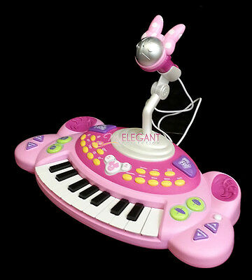 Disney Minnie Mouse Children Kids 18 Note Electronic Piano Keyboard + Microphone