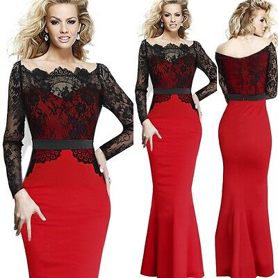 2015 Spring Womens Sexy Off-Shoulder Lace Bodycon Cocktail Evening Mermaid Dress