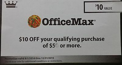 Office Max Coupon $10 off - Exp 12/31/2015