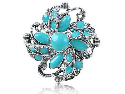 Antique Inspired Silver Tone Metal Faux Turquoise Bead Swirling Flower Adj Ring