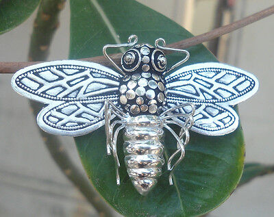 925 Sterling Silver Balinese Brooch/Pendant BEE Hand Carved 02