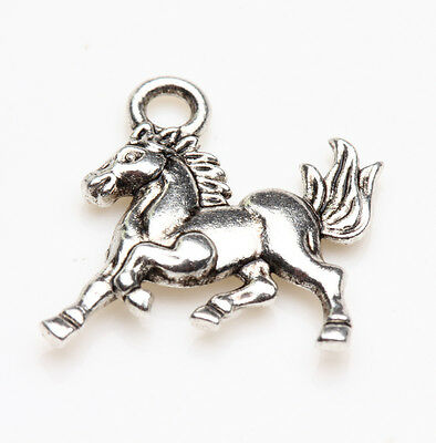 25Pcs Tibet Silver Horse Shaped Charm Pendant Jewelry Findings DIY 15X14MM