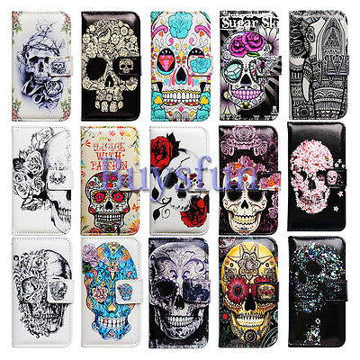Bcov Flower Skull Card Slot Leather Wallet Case Cover For Samsung Galaxy