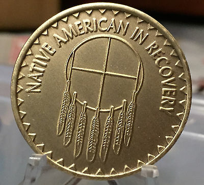 Native American In Recovery Medallion Coin Bronze Chip