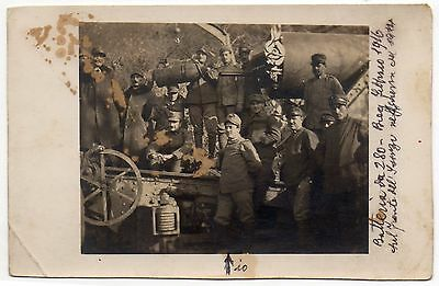 OLD ORIGINAL PHOTO WW1 GROUP OF SOLDIERS ISONZO FRONT BATTERY 280 ITALY 1916