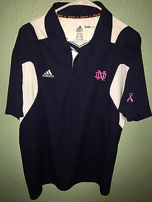 MENS ADIDAS NOTRE DAME CLIMALITE SCORTCH PINK LOGO BREAST CANCER POLO SHIRT L