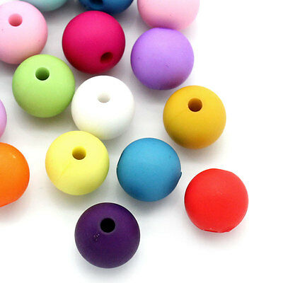 """100PCs Acrylic Spacer Beads Round Mixed 10mm(3/8"""")Dia."""