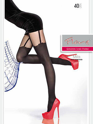 Milla By Fiore 40 Denier Mock Imitation Stockings And Suspender Pattern Tights