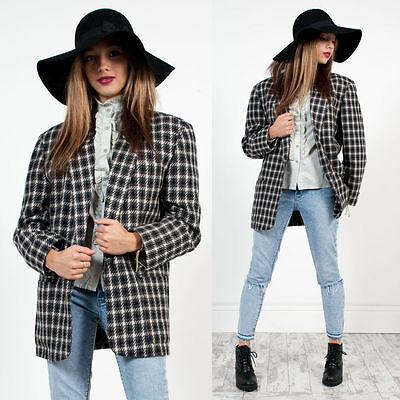Womens Vintage Grey And White Check Plaid Patterned Oversize Blazer Jacket 14
