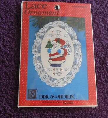 DESIGNS FOR THE NEEDLE Counted Cross Stitch Kit LACE ORNAMENT  HO HO HO SANTA