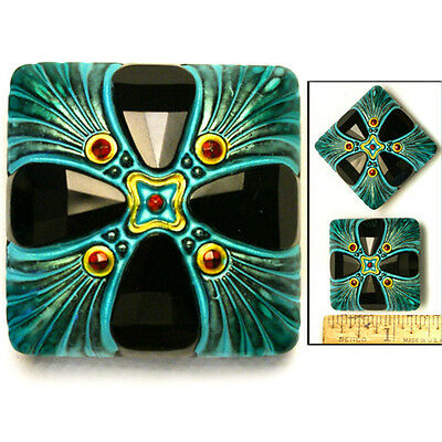 XL 34mm Vintage Czech Glass BLACK + TURQUOISE SQUARE 3D Cross Domed Buttons 2