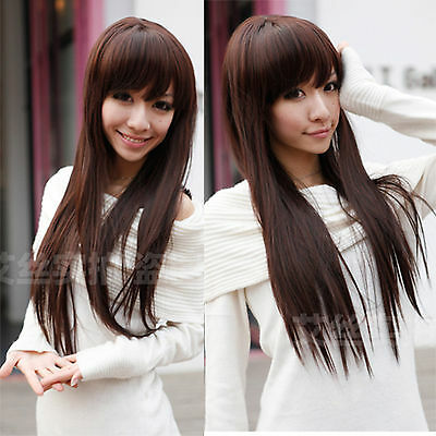 Fashion Sexy Womens' Wig Cute Lady Long Straight Hair Cosplay Neat Bang Full Wig