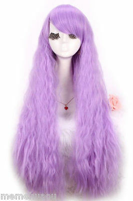 hot!Lolita dreamlike long lavender curly wave cosplay party wig
