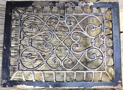 "Heat Air Grate register old rustic 12 3/4 x 9 1/2"" raised front arches vintage"