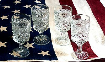 FOUR VINTAGE ANCHOR HOCKING WEXFORD CRYSTAL 8 OZ.WINE /WATER GLASSES ,EXCELLENT