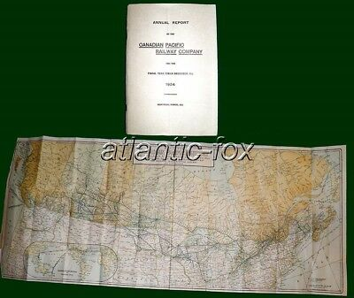 1924 CANADIAN PACIFIC RAILWAY CO. Superb Original 41 Page ANNUAL REPORT + MAP