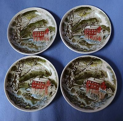 set of 4 Johnson Brothers Friendly Village coasters or butter pats - Old Mill