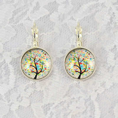 1Pair Colorful Tree Photo glass Cabochon Pattern French leverback Dangle Earring