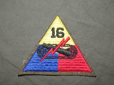 PATCH WW2 US ARMY 16TH ARMOR DIV WOOLIE AS REMOVED ON WOOL LEMONTOP ORIGINAL