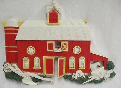 Homco Country Barn Wall Hanging Hand Plow Wagon Horse 1975