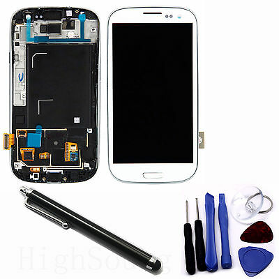 LCD Digitizer Touch Screen Assembly for S3 i9300 White Frame + Black Free Pen